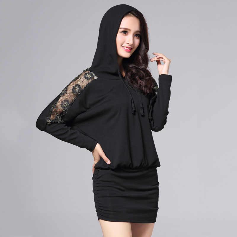 プラスサイズ秋冬の女性のドレスレースフード付き長袖ドレスセクシーなパーティー黒のドレスの女性服ニット暖かいドレス