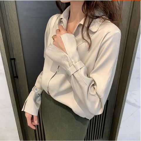 Fashion Satin Silk Blouse Ladies Elegant Office Lady Summer Autumn Casual Long Sleeve blouses shirts Pakistan