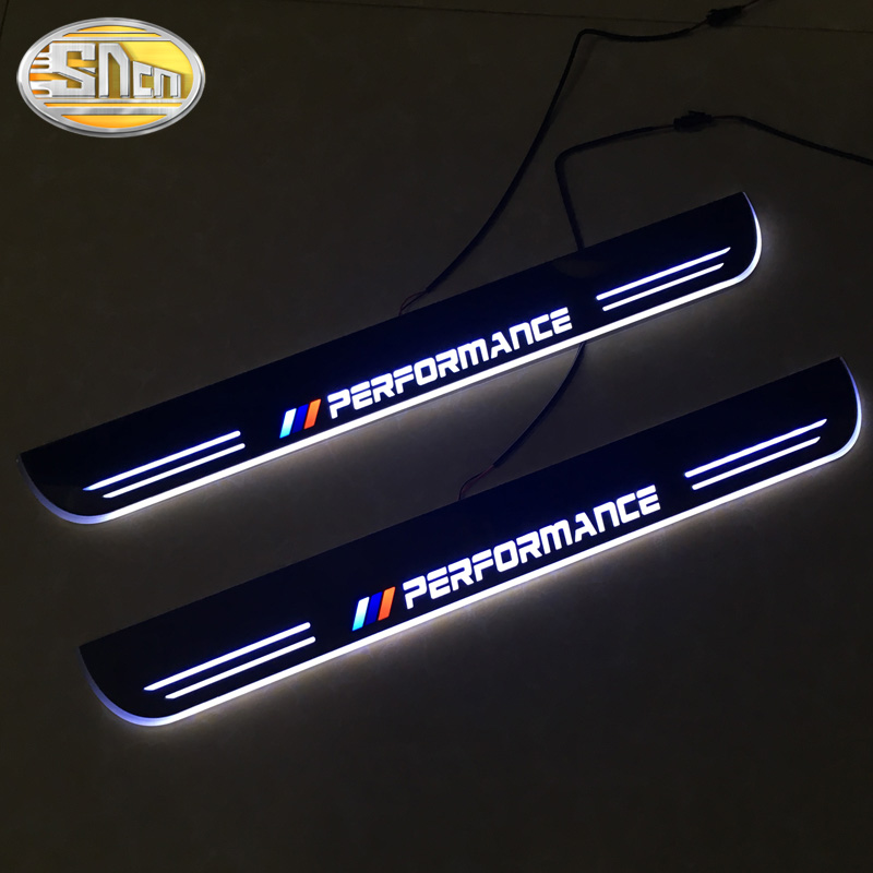 SNCN 4PCS Acrylic Moving LED Welcome Pedal Car Scuff Plate Pedal Door Sill Pathway Light For BMW X5 E70 F15 2007   2016 2017-in Car Stickers from Automobiles & Motorcycles