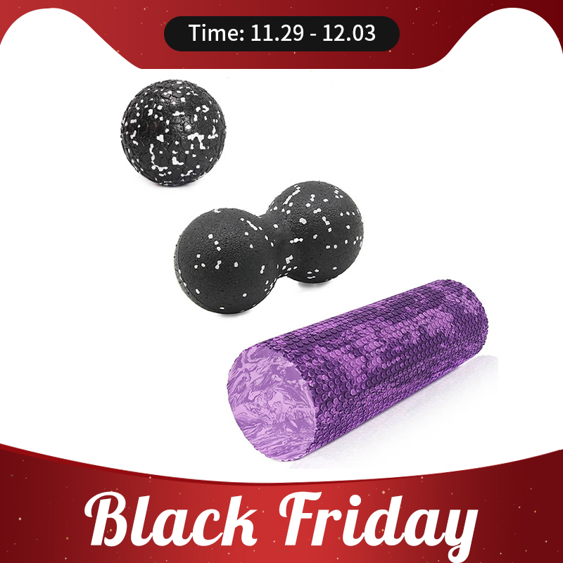 Gym Fitness Yoga Foam Roller Peanut Ball Set Pilates Block Peanut Massage Ball For Therapy Relax Exercise Relieve Stress