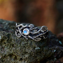 Creative inlaid natural moonlight stone black gold branch ring retro metal dyed black leaf ring suitable for party wedding