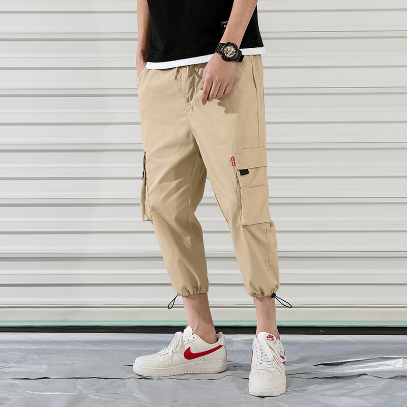 New Cropped Trousers Summer Harem Pants Men's Loose Trend  Sportswear Casual Pants Mens  Loose  Drawstring  Joggers Pants K003