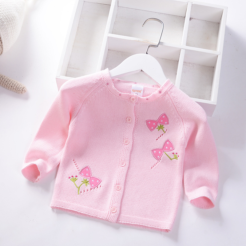 Girls Cardigan Sweater 2019 Autumn And Winter New Style Small CHILDREN'S Embroidered Sweater Cute Infant Thick Sweater