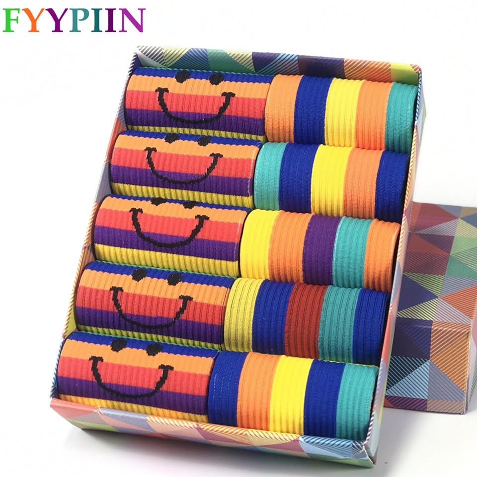 2020 New Women Socks Fashion Cotton Socks Rainbow Series Suitable For Girls Students Socks Women
