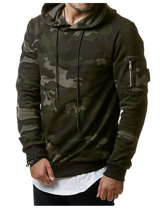 2020 Men's Fashion Camouflage Hooded Men's Casual Trim Jersey