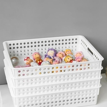 N58E Plastic Storage Basket File Tray Tabletop A4 Document Magazine Organizer with Handles for Home Office Pantry