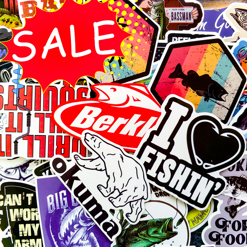 50 Funny Creative Personality Outdoor Go Fishing Stickers For Window Laptop Skateboard Fishing Float Accessories Cute Stickers