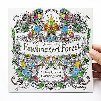 1 adet yeni 24 sayfa büyüleyici orman İngilizce baskı boyama çocuk yetişkin stres rahatlatmak öldür zaman boyama çizim kitabı