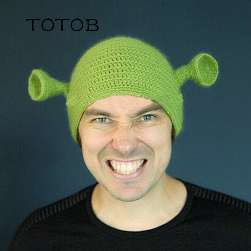 New Europe and the United States hand-knitted wool adult hat green monster Shrek hat Halloween funny hat warm headgear(China)