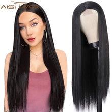 AISI HAIR długa prosta czarna peruka peruki syntetyczne dla kobiet naturalna środkowa część peruka żaroodporne włókna naturalnie wyglądająca peruka