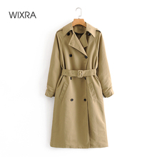 Wixra Womens Trench Jackets Casual Double Breasted Waterproof Sashes Long Coat Chic Female Windbreaker Outerwear