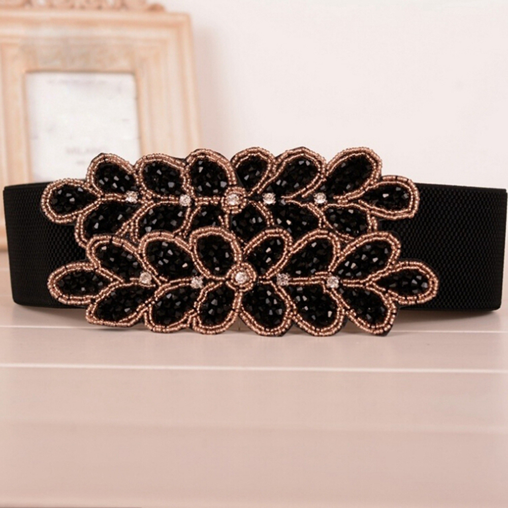 Elegant Women's Corset Belt Crystal Buckle Wide Elastic Waist Belts Vintage Stretch Waistband Cinch Accessories