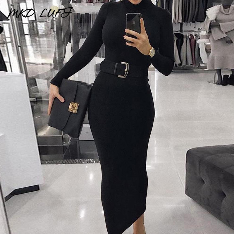 High Neck Long Sleeve Slinky Midi Dress Women Elegant Solid Skinny Bodycon Party Dress (Without Belt)