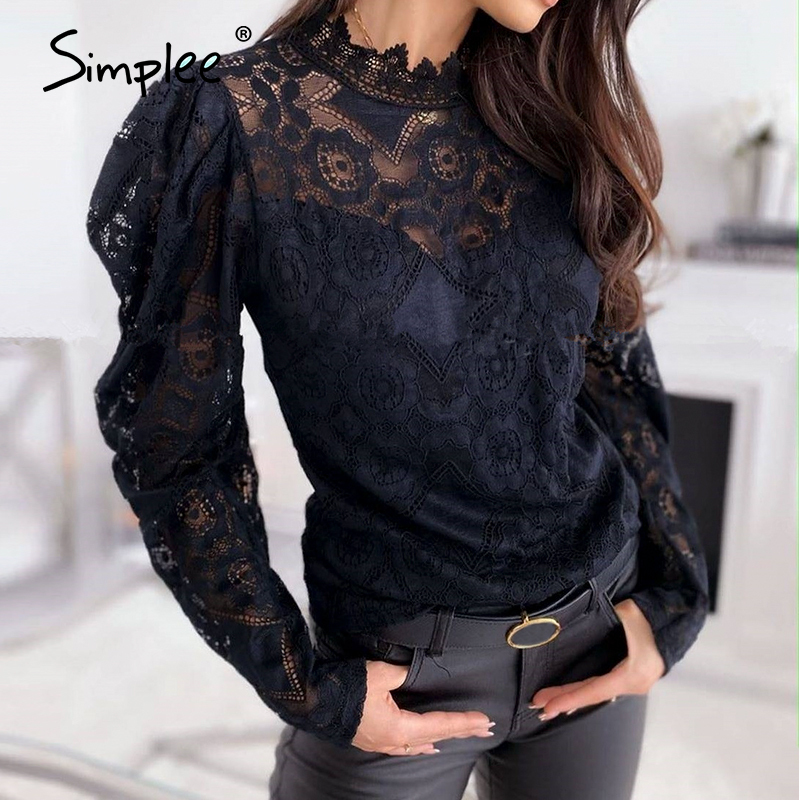 Simplee Sexy Women White Lace Blouse Shirt Elegant See Through Female Office Shirts Chic Puff Sleeve Crew Neck Work Wear Tops