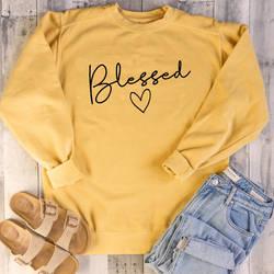 Blessed розовая одежда женский христианский графический пуловер толстовка с длинными рукавами женские уличные топы с буквами Прямая доставка