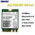Huasj banda dupla 2.4g/5 ghz 433 mbps intel 3165ac ngff 802.11ac wifi 3165ngw m.2 wlan cartão + bluetooth 4.0 rede mini adaptador