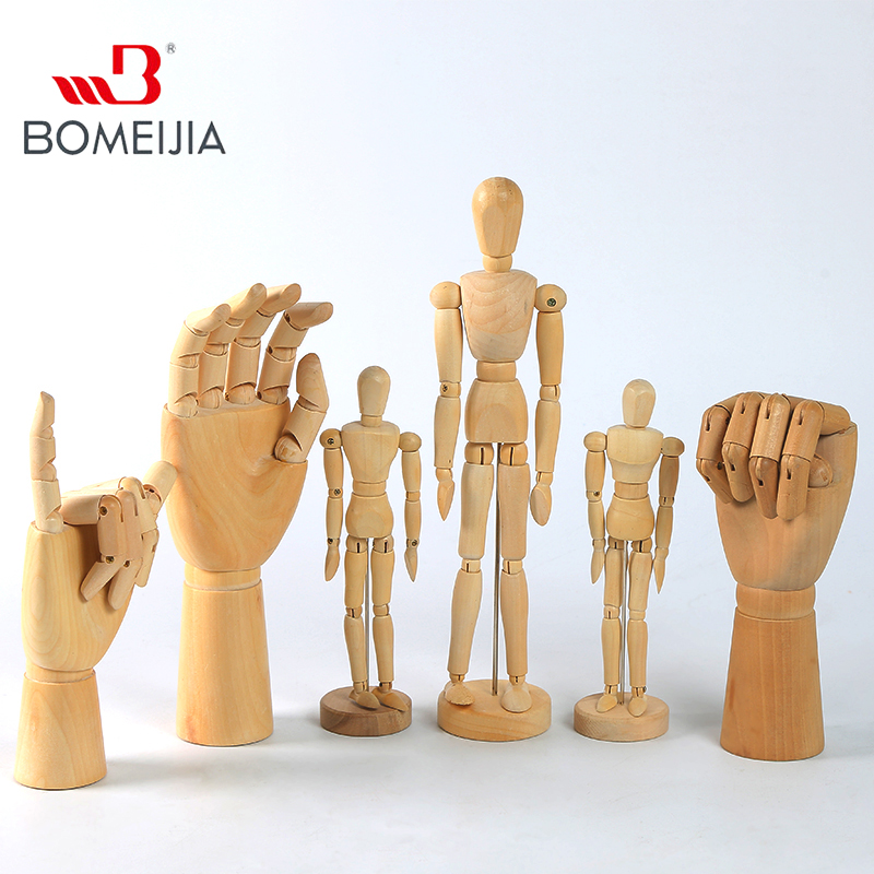 Wooden Hand Man Wood Drawing SKETCH Mannequin Modle Artist Movable Limbs Human Male Miniatures Figurines Decoration Crafts image