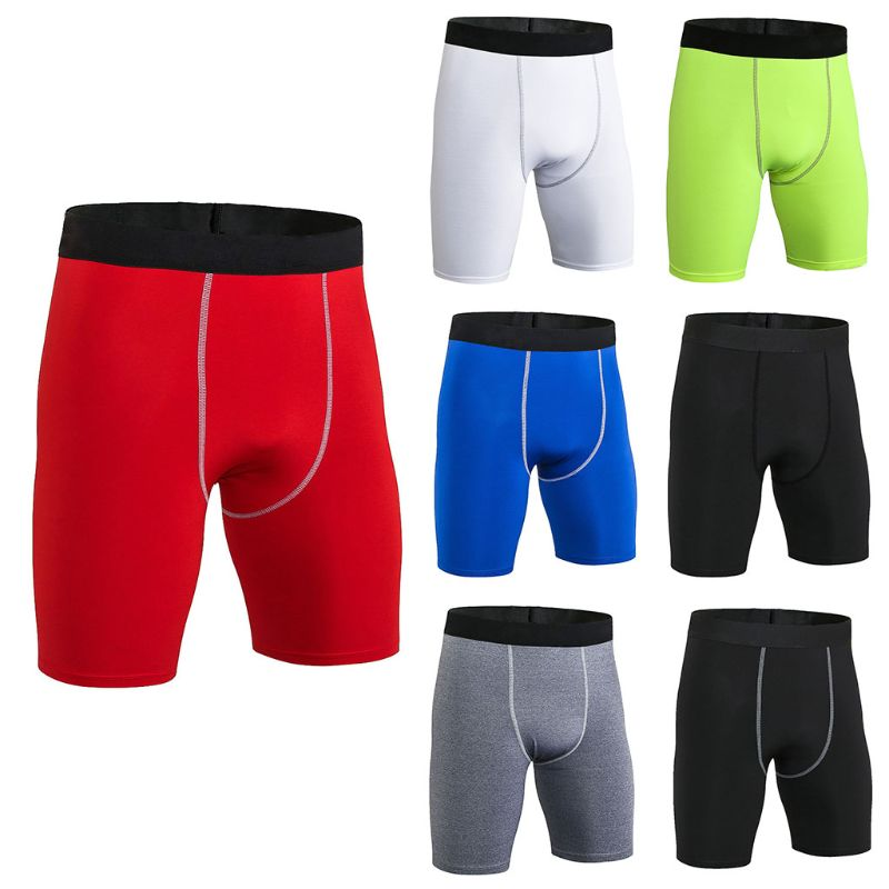 7 Colors Mens Plus Size Long Compression Shorts Quick Dry Wide Elastic Waistband Sports Tights Athletic Baselayer Running Workou