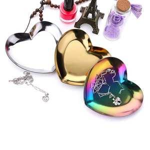Ornaments Decoration Tea-Tray Jewelry Serving-Plate Fruit Heart-Shaped Metal Arrange