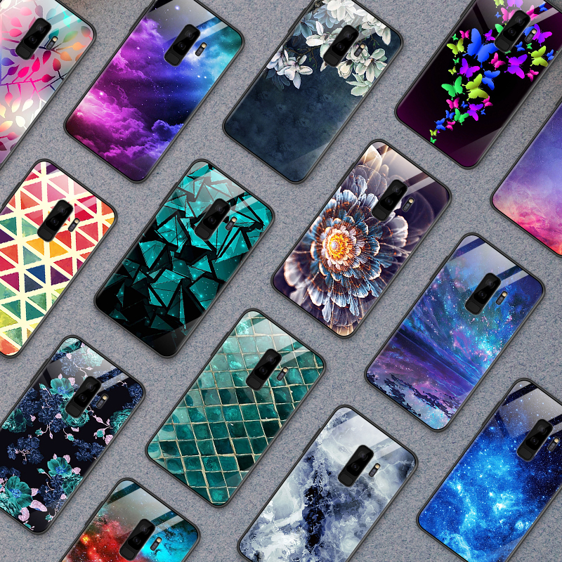 for Samsung Galaxy S8 S9 S10 Plus Tempered Glass Cover for <font><b>OnePlus</b></font> 3 3T 5 5T 6 <font><b>6T</b></font> 7 7 Pro Fashion Colorful Shockproof Phone <font><b>Case</b></font> image