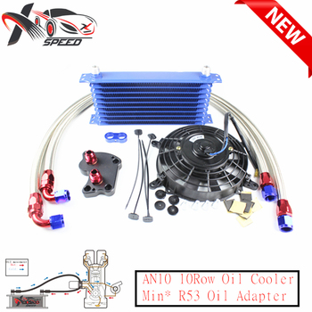 10 row oil cooler 7'' oil cooler fan + For Min* Coope* S R53 oil filter adapter XXTOL10-23BL/BK