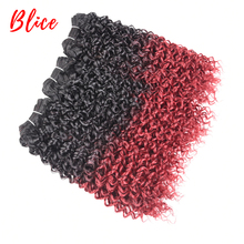 Blice 12-24 Inch Ombre Color Curly Weave Bundle 3PCS/Pack Water Wave Heat Resistant Kanekalon Synthetic Fiber Weaving Afro