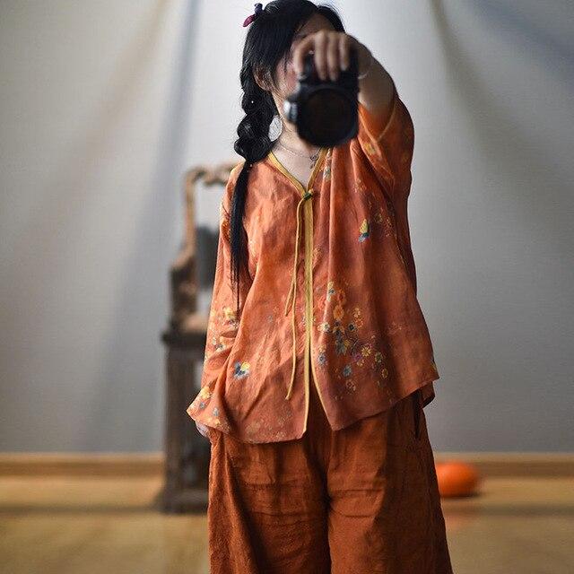Women Spring Autumn V Neck Printed Blouse Tops Ladies Vintage Print Summer Blouses Female 2020 Shirt Tops 5