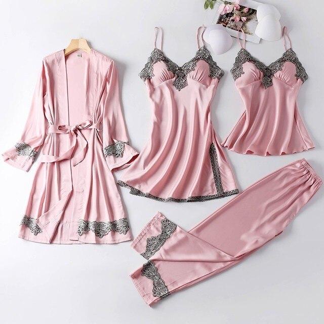 4PCS Satin Sleepwear Lady Pajamas Suit Nighty&Robe Set Sexy Intimate Lingerie Casual Bridal Wedding Gift Homewear Nightgown