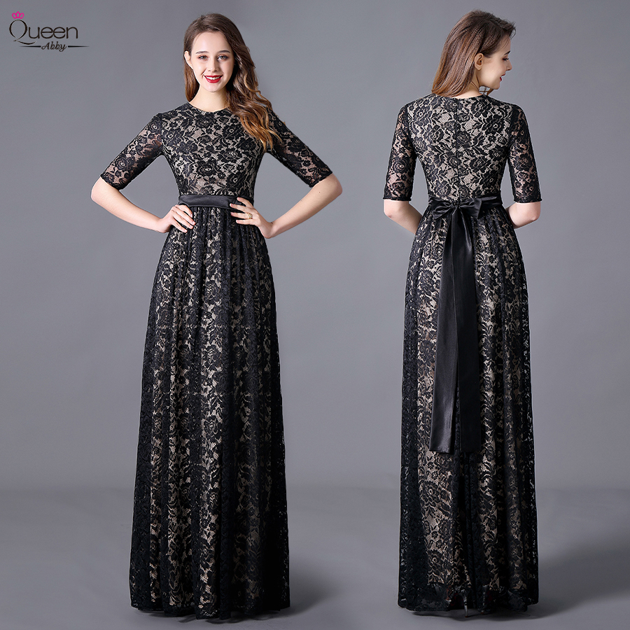 Plus Size Black Lace Evening Dresses Empire Long Queen Abby A-Line Scoop Half Sleeve Sashes Party Elegant Wedding Guest Gowns