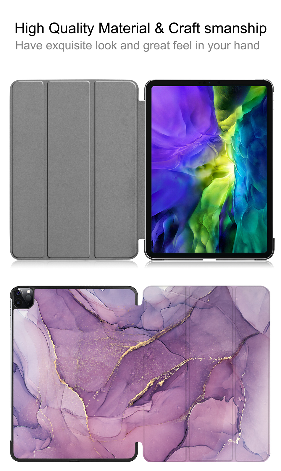 11 For 2020 Case PU iPad inch MTT Fold Magnetic Tablet Marble Leather A2228 Pro A2231