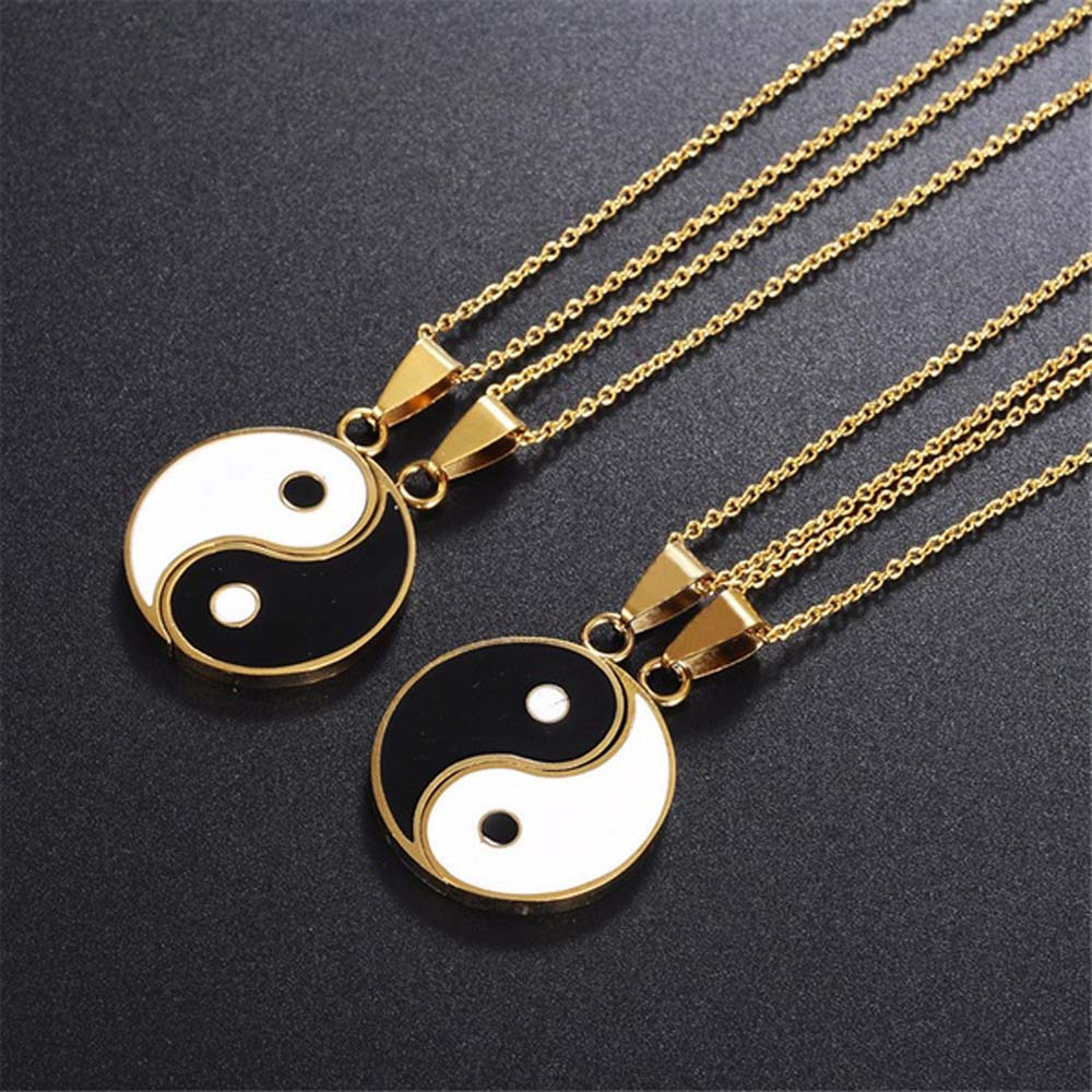 2 Pcs/Set Stainless Steel Yin Yang Pendant Puzzle Piece Necklace Birthday Jewlery Gifts for Couple or Best Friends(China)