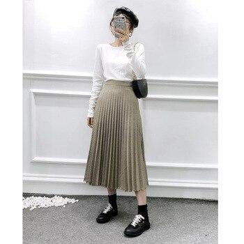 Summer skirt women's plaid skirt temperament small fragrance style wild high waist skirt check pleated skirt half-length skirt