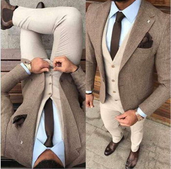 Gentleman Winter Tweed Fabric Man garnitury biurowe smokingi dla pana młodego mężczyzn Prom płaszcz imprezowy komplety ze spodniami trzy garnitury (kurtka + kamizelka + spodnie) tanie i dobre opinie Caterinasara COTTON Poliester Z wełny Groom wear REGULAR Mieszkanie Zipper fly Pojedyncze piersi Groom Suit Skośnym