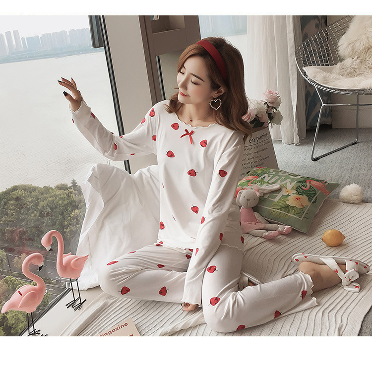 Autumn Women Cotton Pajamas Sets 2 Pcs Cartoon Printing Pijama Pyjamas Long Sleeve Bowknot Pyjama Sleepwear Sleep Set 67