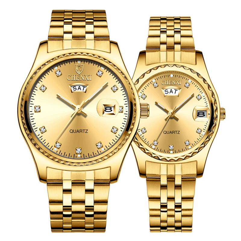 Luxury Fashion Couple Watches CHENXI Gold Watches Women Men Stainless Steel Quartz Watch Fashion Lovers Watches Rhinestone