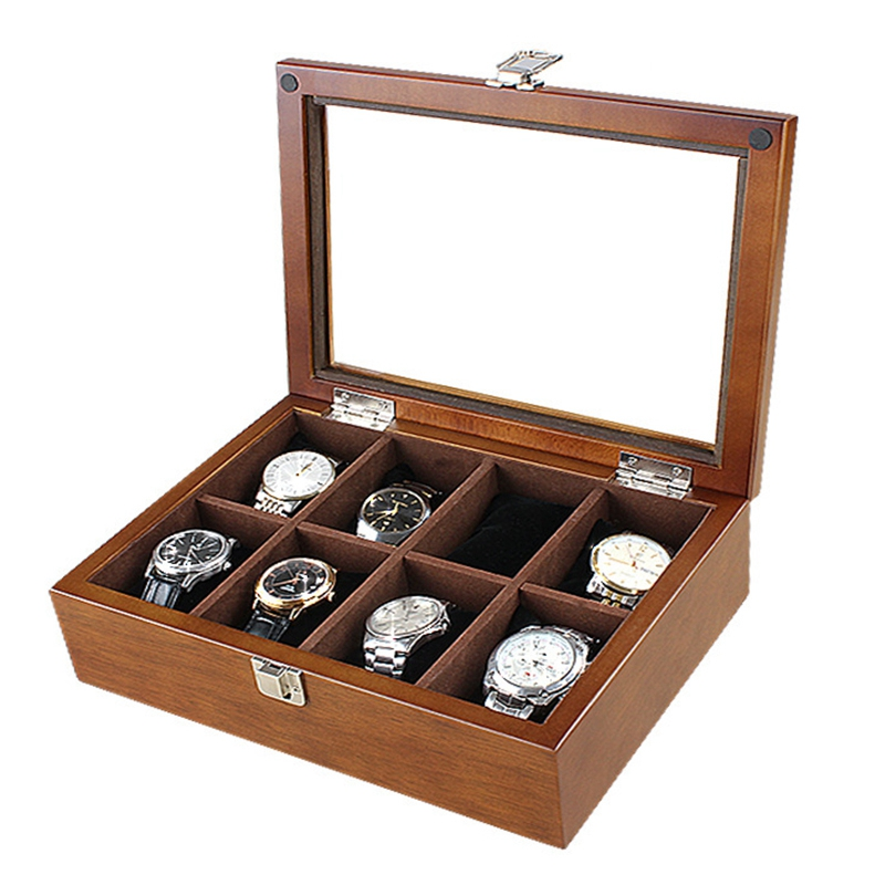 8 Slot Watch Boxes Case New Coffee Wood Watch Organizer with Glass Mechanical Watch Holder Gift Case Holder Women