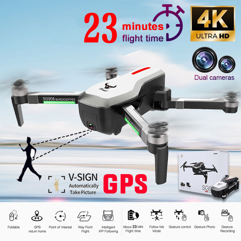 SG906 GPS 5G WIFI FPV With 4K Ultra clear Camera Selfie Foldable Helicopter RC Drone Quadcopter RTF PK SG900