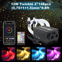 NEW LED Fiber Optic Lights Smart Bluetooth APP Control 12W Twinkle Music Control 296pcs Cable Car Roof Starry Sky Ceiling Light