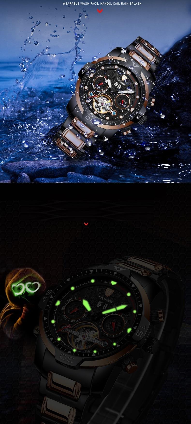 Big Man Watch TEVISE T816A Tourbillon Week Date Month Automatic Mechanical Wristwatch Luminous Hand Scale Watch Men Dropshipping (7)