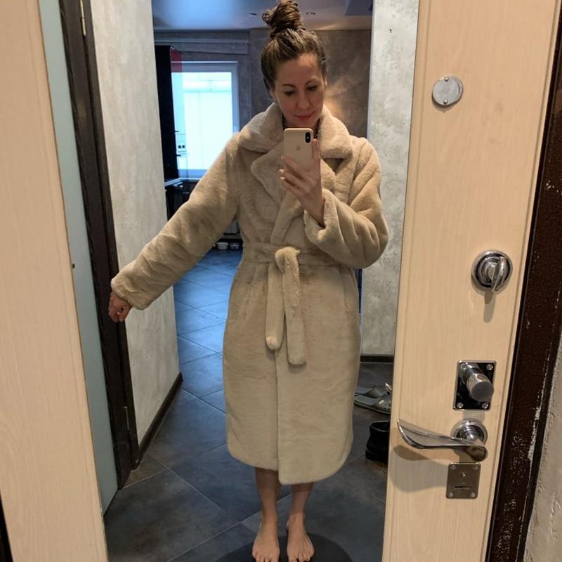 Winter Women High Quality Faux Rabbit Fur Coat Luxury Long Fur Coat Loose Lapel OverCoat Thick