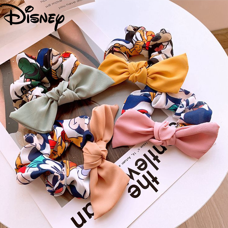 Disney Mickey Children Hair Ornament Cute Cartoon Bowknot Hair Ring Baby Girl Elastic Rubber Band Headwear Kids Hair Accessories