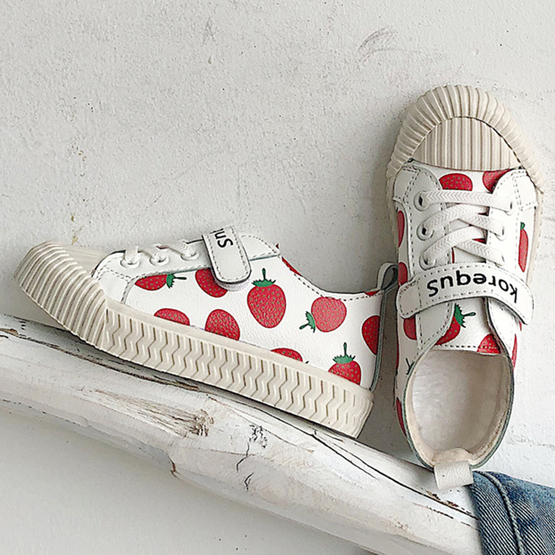 Kid's Shoes 2019 Spring And Autumn New Lovely Strawberry Girls Shoes Velcro Children's Cotton Shoes Leisure Trend