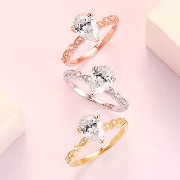 Real 925 Silver Ring For Woman Rose Yellow Whitel Gold Color Pear Simulated Diamond  CZ Stone Wedding Engagement Rings Gift 2