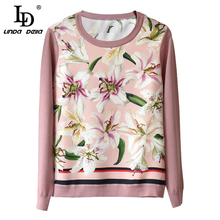 купить LD LINDA DELLA Autumn Fashion Runway Elegant Pullover Women's Long Sleeve Lily Floral Print Casual Knitting Sweater Tops по цене 4167.75 рублей