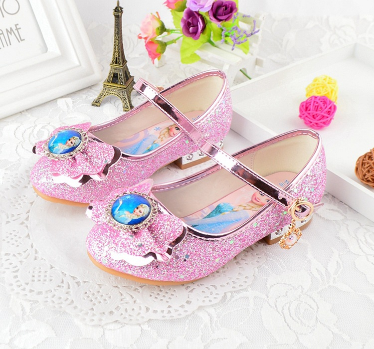 Children Leather Sandals Child High Heels Girls Princess Summer Elsa Shoes Chaussure Enfants Party Anna Shoes