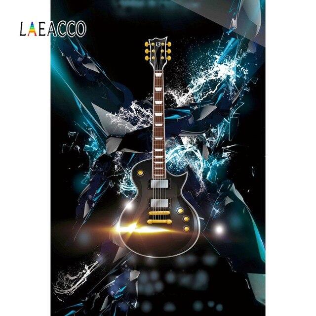 Laeacco תמונה רקע גיטרה מוסיקה דיסקו מסיבת חגיגת גראנג דפוס שיחת וידאו צילום רקע תמונה סטודיו