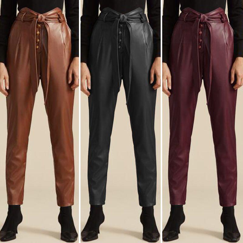 ZANZEA Stylish PU Leather Pants Women's Autumn Trousers Casual Elastic Waist Long Pantalon Palazzo Female Solid Turnip Oversize