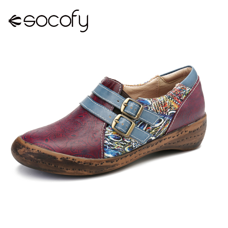 SOCOFY Retro Flats Embossed Splicing Fancy Multi Colors Pattern Casual Comfy Slip On Zipper Shoes Women Shoes Botas Mujer 2020