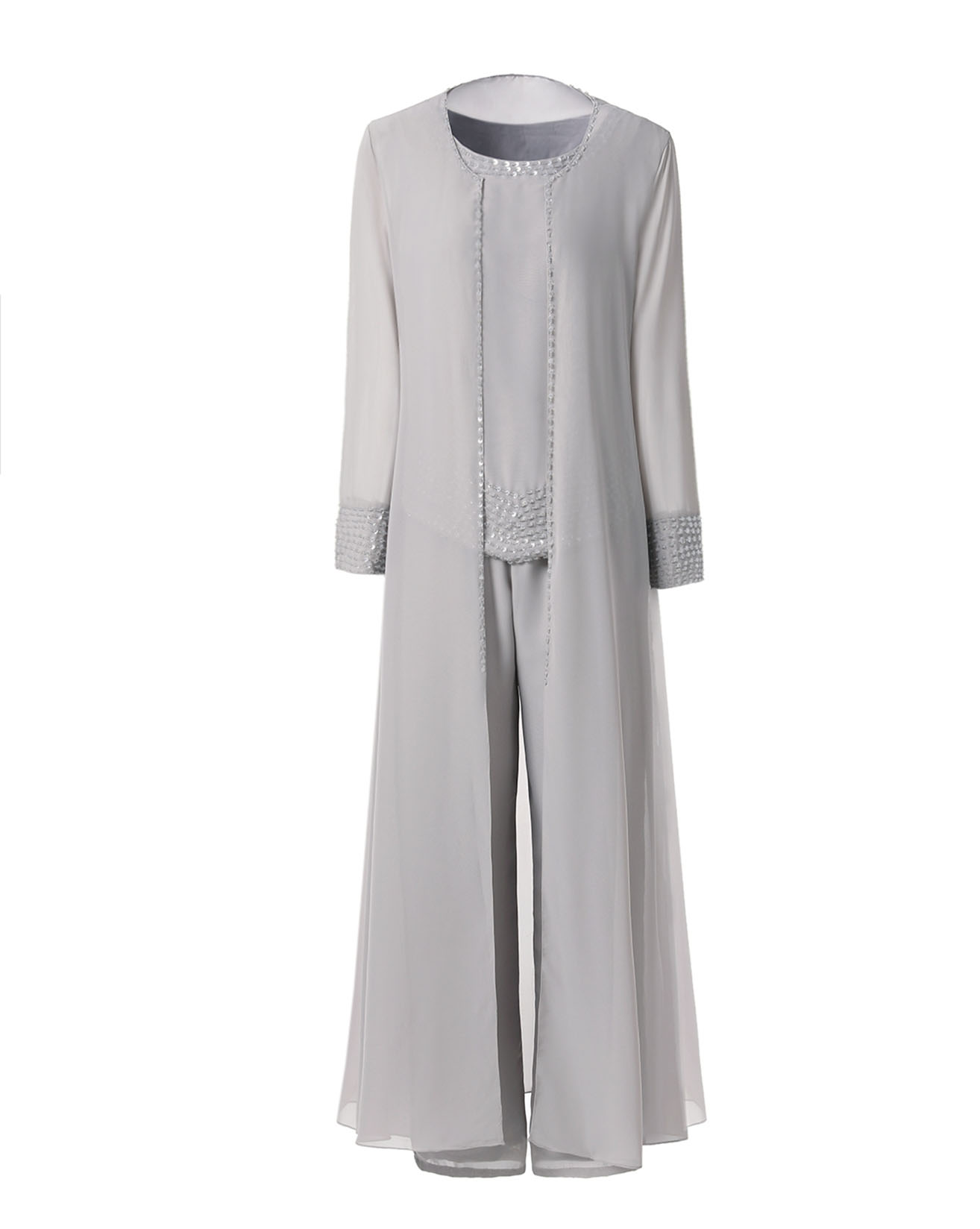 Fashion 3 Pieces Beading Mother Of The Bride Dress Pant Set Suit With Ankle Length Jacket Outfit For Wedding Muslim Dress