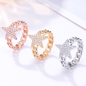 Image 1 - Crystal Star Ring For Women Gold Color Cubic Zirconia Pentagram Rings Party Jewelry Womens Gift Bijoux femme 2020 Wholesale